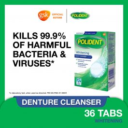 Polident Denture and Retainer Cleaning Tablets, Whitening Cleanser, 36 Tablets