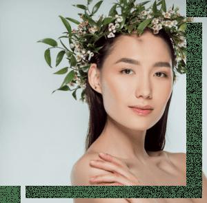 woman wearing floral crown