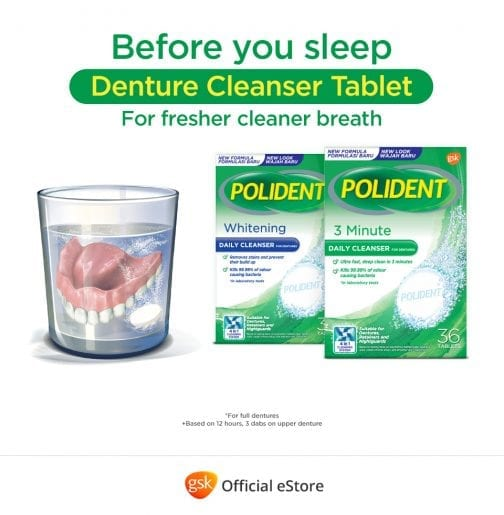 a glass of dentures in water with Polident Denture Cleanser Tablet Whitening and 3 Minute