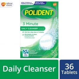 Polident Denture and Retainer Cleaning Tablets, 3 Minute Daily Cleanser, 36 Tablets