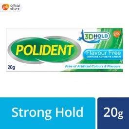 Polident Denture Adhesive Full & Partial False Teeth Fixative, Flavour Free, 20g