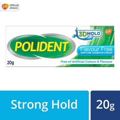 Polident Flavour Free Denture Adhesive Cream 20g