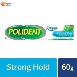 Polident Denture Adhesive Full & Partial False Teeth Fixative, Flavour Free, 60g