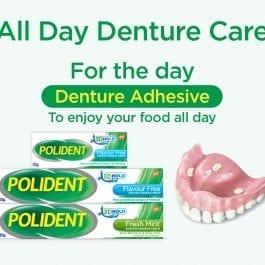 Polident Denture Adhesive Full & Partial False Teeth Fixative, Mint, 60g