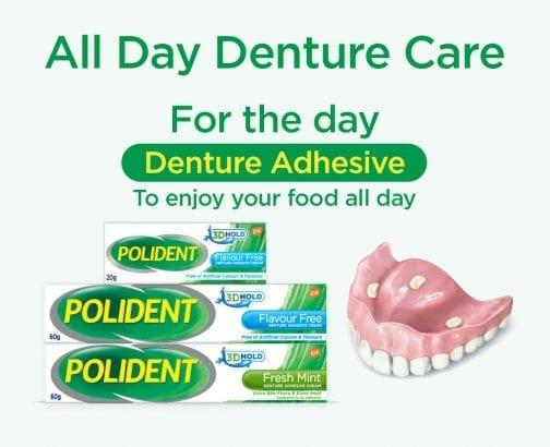 Polident Flavour Free Fresh Mint Denture With Dentures