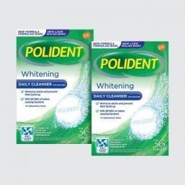 Polident Denture and Retainer Cleaning Tablets, Whitening Cleanser, 36 Tablets x2, Twinpack