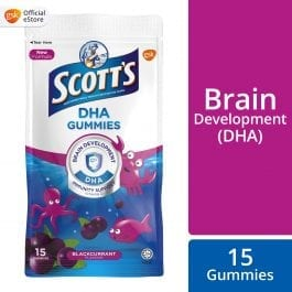 Scott's DHA Chewable Gummies, Fish Oil Omega 3 Children Supplement for Immunity and Brain Development Support, Black Currant Flavour, 15s