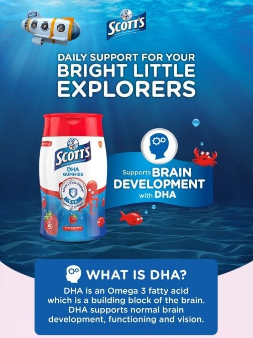 Scott's DHA Gummies Strawberry Flavour Brain Development DHA
