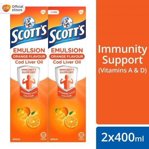 Scott's Emulsion Orange Flavour Cod Liver Oil (2x400ml)