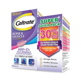 Caltrate Calcium for Bone and Muscle Health Plus Supplement (500 IU), [Bundle of 100s + 60s]